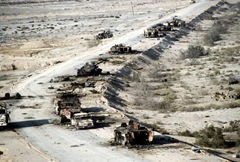 Coalition aircraft were accurately vectored so as to catch this Iraqi armored column on a raised embankment astride the Euphrates River. The entire column was decimated.
