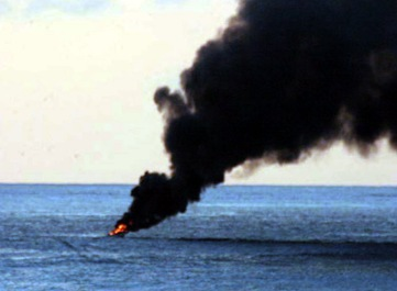 Indian Ocean - A suspected pirate vessel ignites in flames before burning to the waterline. USS Gonzalez (DDG 66) and USS Cape St. George (CG 71) were conducting maritime security operations in international waters off the coast of Somalia and attempted to perform a routine boarding of the suspicious vessel towing two skiffs. The suspected pirates opened fire on the U.S. Navy ships and the ship's crew members returned fire. One suspect was killed and 12 were taken into custody.